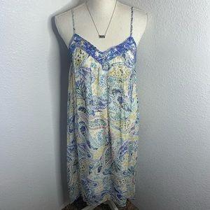 Lucky Brand Paisley Maxi Backless Dress
